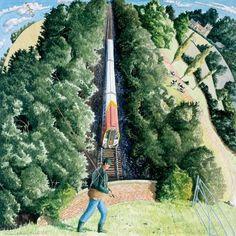 View the painting: Fisherman and Railway, Nadder Valley by Francis Farmar John Galliano, Steve Madden, Limited Edition Prints, Trains, Contemporary Art, Art Gallery, British, Artists, Illustration