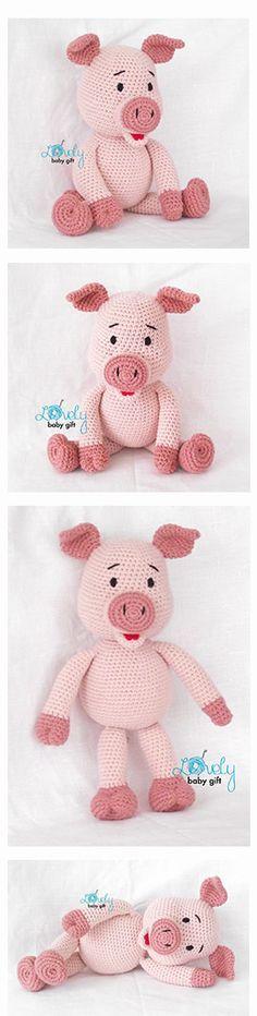 Pig, piglet crochet pattern, häkelanleitung, haakpatroon, hæklet mønster, modèle crochet https://www.etsy.com/listing/223752090/piglet-crochet-pattern-pink-amigurumi?ref=shop_home_active_6