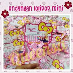 Undangan lolipop mini tema hello kitty