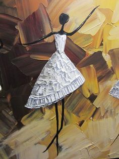 ORIGINAL Abstract Dancer Painting White Dress Ballet Dance Textured Palette Knife Brown Gold - Christine Krainock Art - Contemporary Art by Christine - 3