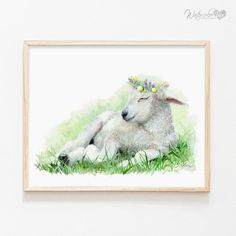 There's nothing more adorable than a sleeping animal, so sneak a little snooze-worthy charm into your space with this artist-grade canvas print made using fade-resistant archival inks. Lamb Nursery, Farm Animal Nursery, Baby Farm Animals, Nursery Wall Art, Baby Sheep, Nursery Decor, Baby Decor, Painting Prints, Art Prints