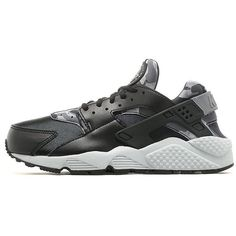 Nike Air Huarache Print Women's ($145) ❤ liked on Polyvore featuring shoes, athletic shoes, camouflage shoes, leather athletic shoes, kohl shoes, gray shoes and grey leather shoes