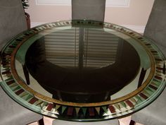 trisquare border glass dining tables let sans soucie create a custom glass dining table with an etched glass design to suit your decor