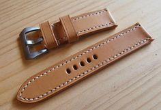 Tailor-made Handmade leather real cow vegetable tanned leather white sutures watch strap watch band 20 22 24 26 custom made panerai-SR