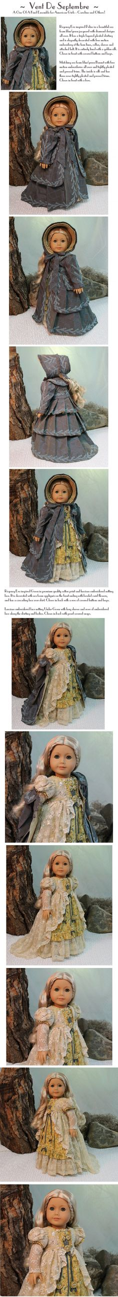 "MHD Designs ""Vent De Septembre"" OOAK Design for American Girl Caroline Museum Quality Ensemble"