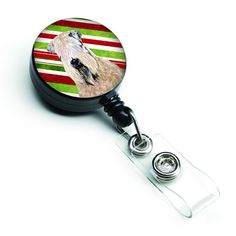 Wheaten Terrier Soft Coated Candy Cane Holiday Christmas Retractable Badge Reel SS4562BR