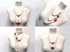 Knitted Necklace with Ceramic Beads cream white cotton by ixela