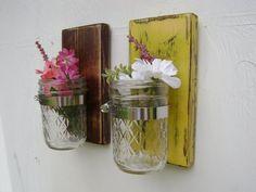 wall hanging wood vase sconce mason jar french country decor shabby chic SET of TWO. $38.00, via Etsy.