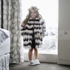 Winter Kid&039;s Children Black And White Hairy Shaggy Faux Fur Girls Cardigan Long Trench Coat Outerwear Z453-B