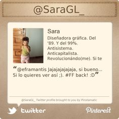 @SaraGL_'s Twitter profile courtesy of @Pinstamatic (http://pinstamatic.com)