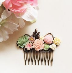 Wedding Hair Comb Mint Green Pink Pastel Soft Blush Ivory Flower Collage Nature Floral Bridal Hair Accessories Romantic Elegant Modern PM
