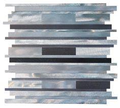 "Silver Aliminum Bold Random Pattern Mosaic Tiles  Sheet Size: 11 3/4"" x 11 3/4"" x 3/8"" Tile: Random Type: Aliminum"