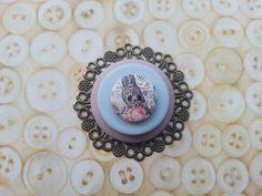 Owl inspired handmade layered button brooch by maxollieandme