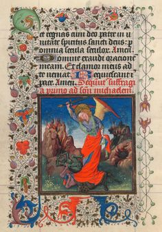 St. Michael Battling Demons | Hours of Catherine of Cleves | Illuminated by the Master of Catherine of Cleves | ca. 1440 | The Morgan Library & Museum