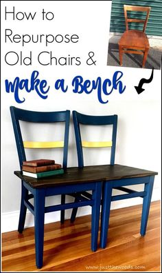 Make a unique bench from chairs with a few easy steps. Old chairs laying around? Repurpose those old chairs and build a bench. DIY bench from vintage chairs. Turn two chairs into a custom bench.