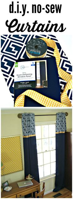 DIY Home Decor Ideas ~ FABULOUS tutorial for DIY Window Curtains! Add these inexpensive window treatments to your home decor! by 3 Little Greenwoods for Designer Trapped in a Lawyer's Body! Window Coverings, Window Treatments, No Sew Curtains, Lengthen Curtains, Custom Curtains, Young House Love, My New Room, Home Design, Design Design