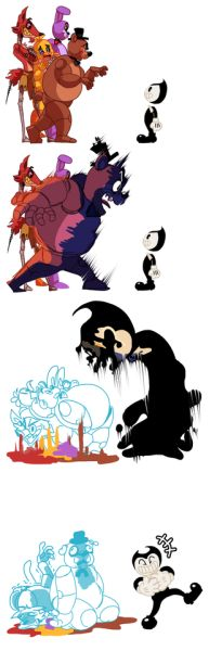 """whiteanteater: """"I think Bendy And Ink Machine is MORE scary than the FNAF. So I will play the FNAF1. """""""