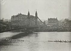 Hammersmith Bridge with Oxford & Cambridge Boat Race, Dixon, Appleby & Thorne's bridge was built in The Bridges of Old London Victorian London, Vintage London, Old London, London History, British History, Oxford England, London England, Cover Photos, Old Photos