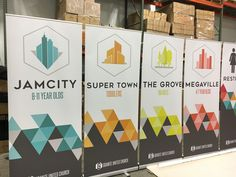 Granite United Church uses color coordinated stand up banners to direct and to welcome.