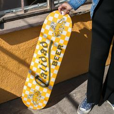 Add some flair to your home or cruise the streets with this limited-edition Calidad skateboard deck made in the USA. - maple wood - Dimensions: x - Wheels, bearings, trucks & grip tape not included Custom Skateboard Decks, Painted Skateboard, Skateboard Deck Art, Custom Skateboards, Vintage Skateboards, Skateboard Design, Cool Skateboards, Skate 3, Skate Board