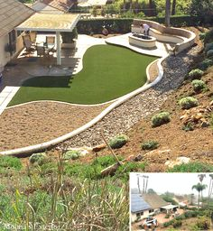 Renovation in Rancho Bernardo complete. Molina's Exterior installed new concrete, curbs, pavers and artificial turf. A retaining wall and fire pit were added to make this back yard the perfect exterior living space. California friendly, drought tolerant plants and materials. Anandascapes, LLC @anandascapes