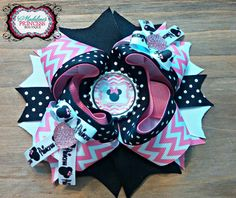 Minnie Mouse Pink and Black Bottlecap Bow by MadelinesOnlineStore, $6.50