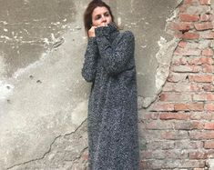 Knitted Dress, Plus Size Dress, Oversized Dress, Winter Maxi Dress, Maxi Kaftan Dress, Turtleneck Dress, Gray Dress, Women Dress, Warm Dress
