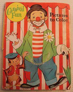 Vintage Carnival Fun Coloring Book Saalfield 1619