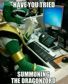 Power Rangers Tech Support I just want to know the story behind this photo. Power Rangers Funny, Go Go Power Rangers, Best Memes, Funny Memes, Hilarious, Jokes, Funny Cartoons, Stupid Funny, Funny Videos