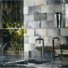 Backsplash Inspiration Mercury Glass Look Ann Sacks Mirror Tiles Mirror Backsplash, Kitchen Backsplash, Backsplash Ideas, Tile Ideas, Antique Mirror Tiles, Antiqued Mirror, Antique Glass, Gazebo, Distressed Mirror