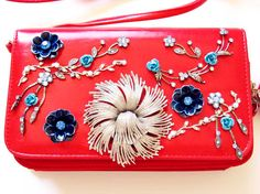 Retro Studded Wallets for Date,Prom, - Vintage Jewelry Embellished Red Ladies Purse