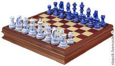 Купить Шахматы-ларец Гжель Презент большие (махагон, клетка 4,5 см) (33567)