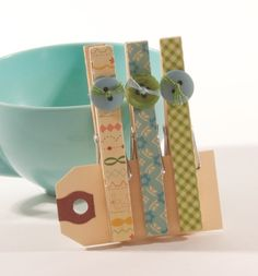 Washi Tape Clothespins w/Button