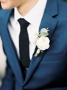 wedding groom Top 7 Early Spring Navy Blue Wedding Color Palettes You Will Crash On White Boutonniere, Corsage And Boutonniere, Groom Boutonniere, Hydrangea Boutonniere, Succulent Boutonniere, Boutonnieres, Wedding Gifts For Bride And Groom, Wedding Groom, Wedding Attire