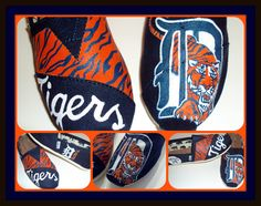 Detroit Tigers hand painted Toms shoes