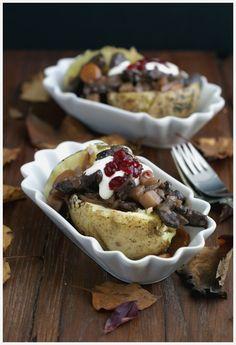 Ofenkartoffel mit Hirschgeschnetzeltem & Preiselbeeren