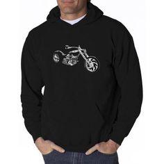 Los Angeles Pop Art Big Men's Hooded Sweatshirt - Motorcycle, Size: 2XL, Black