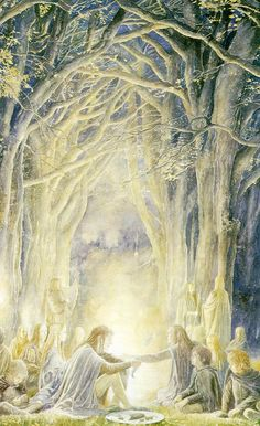 Alan Lee's Lord of the Rings Artwork / from the books, as Frodo and Sam leave the Shire, they meet the Elves going to the Grey Havens.