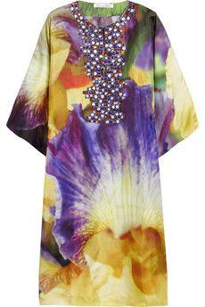 Oscar de la Renta Iris printed silk-twill kaftan | THE OUTNET