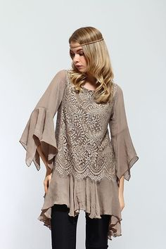 BROWN MOCHA LACE BLOUSE FASHION DESIGN COCKTAIL PARTY OCCASION SHIRT/ TUNIC - XL #SCC #Tunic #Casual