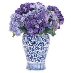 Faux hydrangea arrangement from Natural Decorations, Inc. Made in the USA.   Product: Faux floral arrangementConstru...