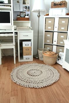 Oh I love all the pretty neutrals in here and the hand crafted crocheted rug!