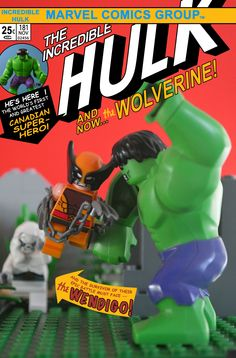 The Incredible Hulk Wolverine Wendigo Marvel Comics Canada LEGO Re-Creation Canadian Super Hero Lego Hulk, Lego Marvel, Marvel Comic Books, Marvel Comics, Hulk 181, Action Comics, Classic Comics, Incredible Hulk, Graphic Design