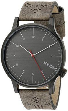 Women's Wrist Watches - KOMONO Unisex KOMW2014 Winston Brogue Series Analog Display Japanese Quartz Grey Watch >>> Visit the image link more details.