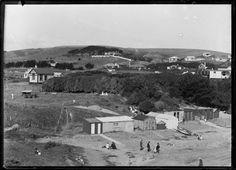 Titahi Bay, circa Photograph taken by Sydney Charles Smith. Quantity: 1 b&w original negative(s). New Zealand, Paris Skyline, Mount Rushmore, Nostalgia, Mountains, Beach, Kiwi, Travel, Image