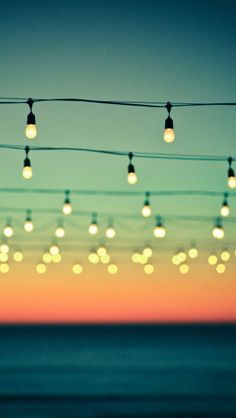 "Hanging Lights Bokeh Sunset... This would be beautiful for a dance floor at a wedding! ""Dancing under the stars"""