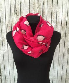Lightweight pink penguin scarf by NativeBabydoll on Etsy