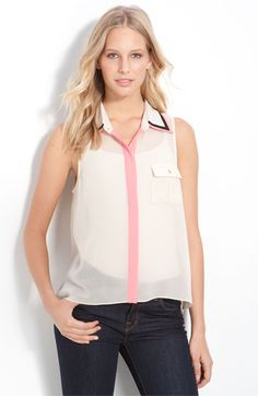 Remain 'French Charm' Sheer Colorblock Sleeveless Shirt