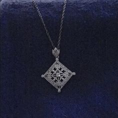"Silver Filigree CZ Triangle Necklace This so antique looking. VERY pretty. Triangular Shaped Filigree and CZ pendant. 17"" Silver Chain. Platinum plated Jewelry Necklaces"