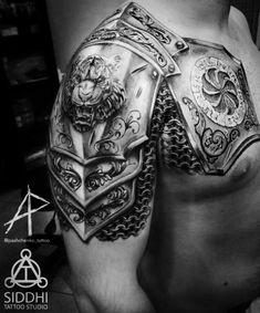 Armor Sleeve Tattoo, Armor Of God Tattoo, Armour Tattoo, Shoulder Armor Tattoo, Tribal Shoulder Tattoos, Best Sleeve Tattoos, Tattoo Sleeve Designs, Body Art Tattoos, Warrior Tattoos